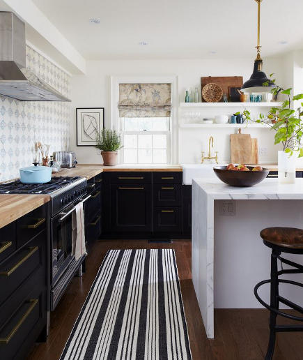 black and white kitchen with gray pattern backsplash and black and white striped rug