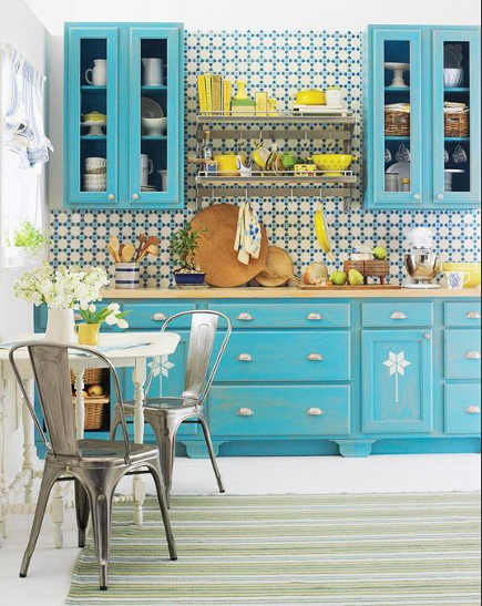 kitchen with turquoise cabinets, blue, green and yellow backsplash, and blue, green and yellow striped rug