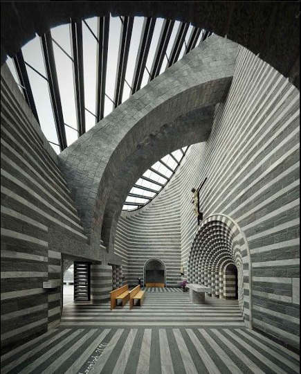 gray and white striped interiors - Church of St. John the Baptist in Mogno, Switzerland - Mario Botta via Atticmag