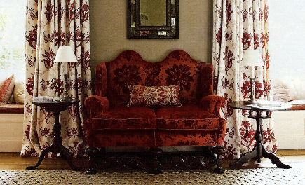 custom drapery details - Guy Goodfellow floral print linen draperies in B. Berger fabric - H&G via atticmag