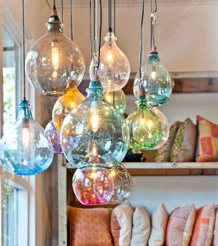hand blown bottle lights - Cisco Home - via atticmag