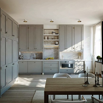 ceiling height cabinets - Gustavian gray Swedish kitchen - Karlavagen 76 via atticmag