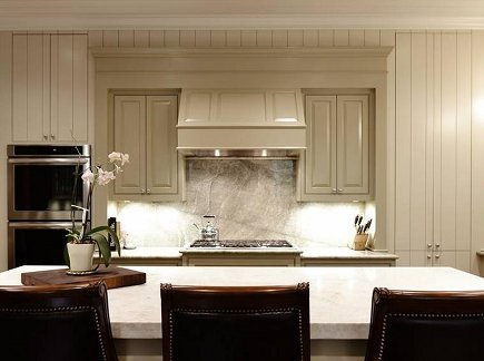 ceiling height cabinets - Ben Moore Coastal Fog kitchen cabinets by Standard Creative Birmingham AL - via atticmag