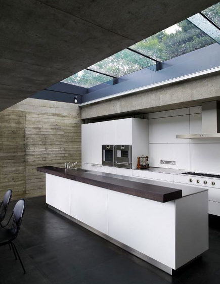 Elliott House white kitchen with retractable roof - yatzer via Atticmag