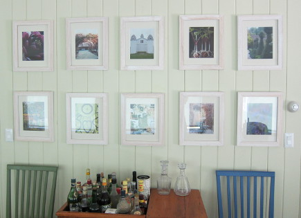 magazine page picture wall in a dining room