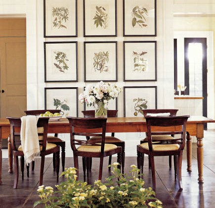 magazine picture wall - inspiration dining room with botanical print picture wall - country home via atticmag
