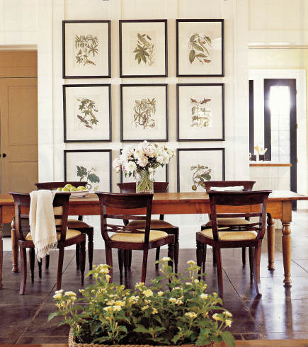 dining room with botanical print picture wall