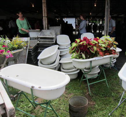 washtub plantres from Great Stuff by Paul Antiques at the Country Living Fair - atticmag