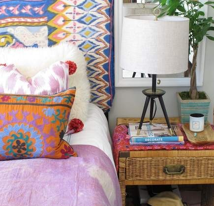 boho bedroom - bohemian style bedding - Amber Interior Designs via Atticmag