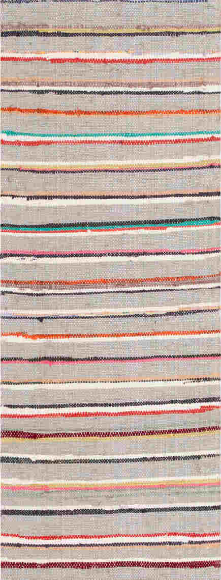 Vintage Swedish rag rug runner, striped with gray field - Nazmiyal via Atticmag