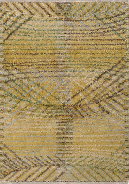antique Barbro Nilsson Rya rug, yellow and gray - Nazmiyal via Atticmag