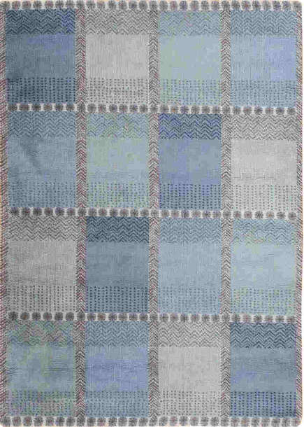 Color block blue Swedish antique rug - Nazmiyal via Atticmag