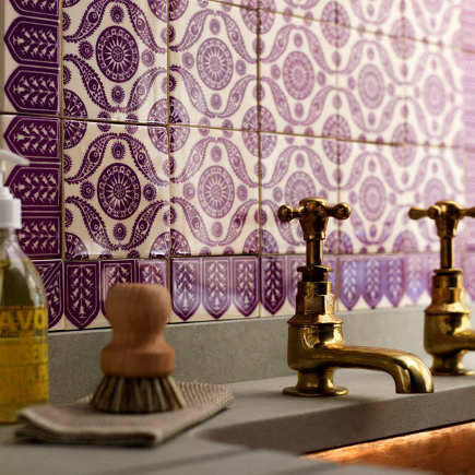 decorative mauve ceramic tile bathroom wall TexTiles Ottoman II tile - style-files via Atticmag