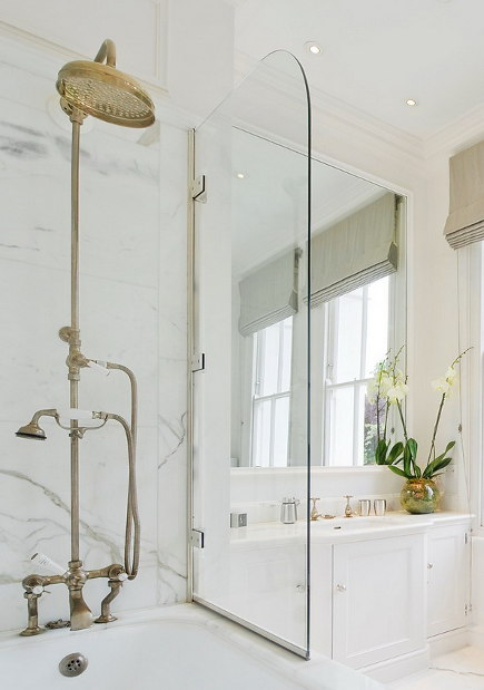 Marvelous Natural Brass Fixtures   Shower And Tub   Homebunch Via Atticmag