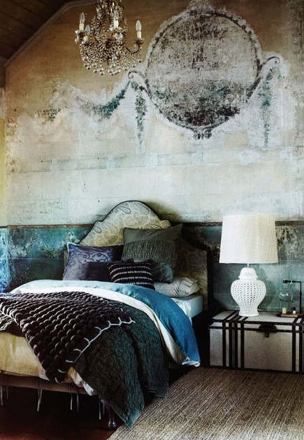 boho bedroom with antique faux painted walls -  homeanddelicious via atticmag