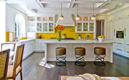 white kitchen with taxi yellow backsplash - barry dixon via atticmag