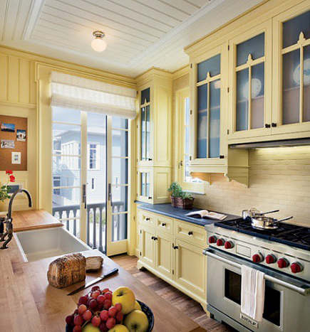 urban cottage kitchen with yellow cabinets - decorpad via atticmag