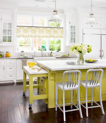 white kitchen with yellow island base - bh&g via atticmag