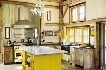 yellow kitchen features - rustic barn kitchen with modern yellow island - ad via atticmag