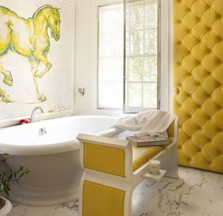 showhouse saffron yellow master bath by Raymond Goins