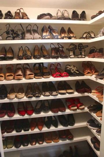shoe closet in renovated attic master suite - Atticmag