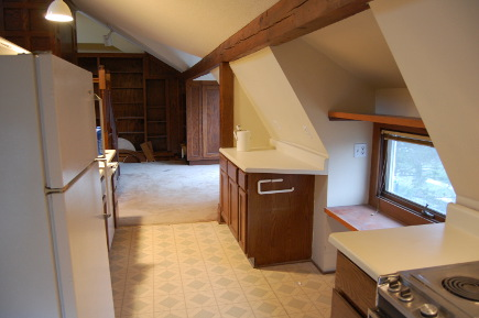 old kitchen in attic space now occupied by renovated master bath - Atticmag