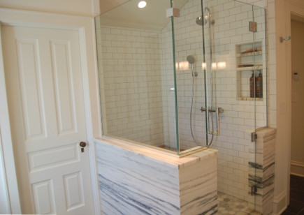 Vermont marble shower in attic master bath master suite - Atticmag