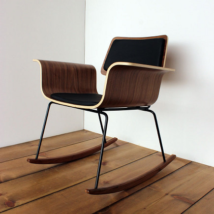 handcrafted molded plywood walnut rocking chair by onefortythree via Atticmag