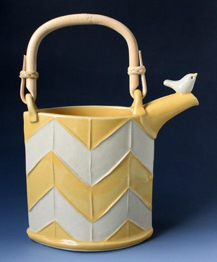 custom pottery tea pot with bird by Tasha McKelvey via Atticmag