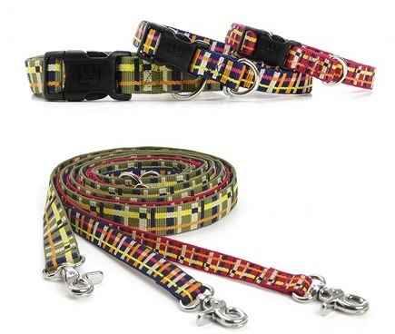 plaid dog collars and leashes made from recycled plastic bottles - Waggo via Atticmag