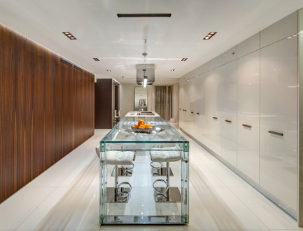 minimalist galley kitchen - Miele award winning kitchen - Architizer via Atticmag