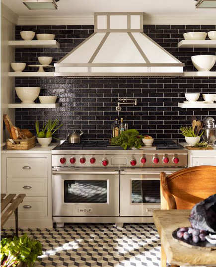 black and white New York illusion floor kitchen - S.R.Gambrel via Atticmag