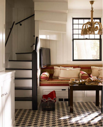 Steven Gambrel kitchen -  black and white New York illusion floor kitchen - S.R.Gambrel via Atticmag