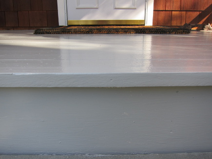 front porch redo -  porch repainted with Fine Paints of Europe Slingblade satin - Atticmag