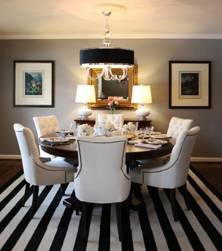 Black and white striped floor-tile dining room rug – pewterandsage via Atticmag