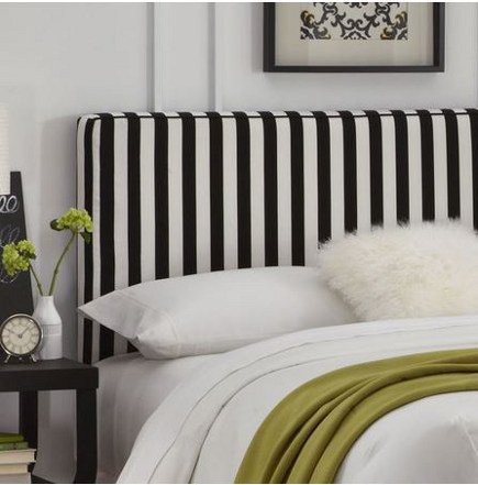 Black and white vertical stripe upholstered Aimee headboard – jossandmain via Atticmag
