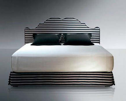 Black and white horizontal stripe Versailles upholstered bed by Treca Interiors, Paris – Archiexpo via Atticmag