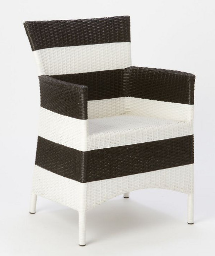 Black and white horizontal all-weather wicker-look patio chair – Terrain via Atticmag