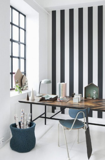 black and white stripe ideas - accent wall with black and white Vertigo wallpaper – Ferm Living via Atticmag