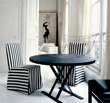 Black and white striped slipcovers on side chairs – B&B Italia via Atticmag