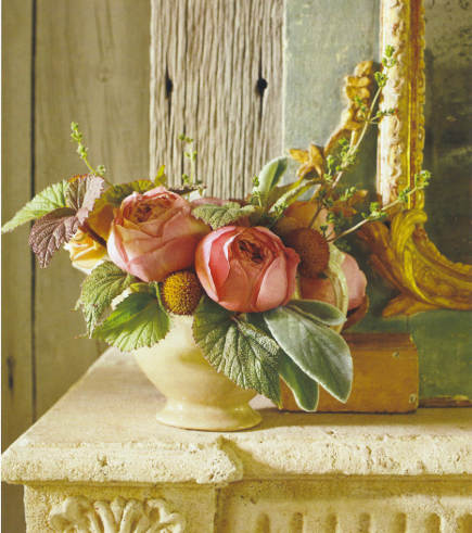 pink roses and greenery by Nicolette Owen - Veranda via Atticmag
