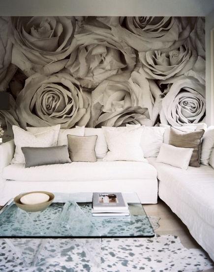 Oversize rose blossom wall mural - Lonny Mag via Atticmag