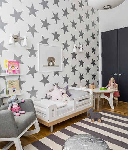 over-sized Star metallic wallpaper by Sissy and Marley via Atticmag
