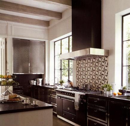black kitchen with Lenox steel and nickel black cabinets - Veranda via Atticmag