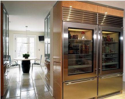 double SubZeros glass-door refrigerators with bottom-mount freezers - kitchensbathsunlimited via Atticmag
