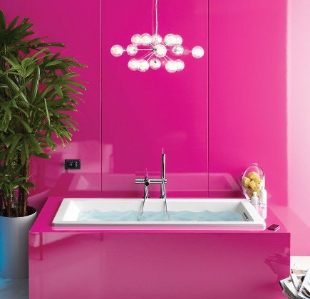 colorufl modern bathrooms - Shocking pink bath with VibrAcoustic tub - Kohler via Atticmag