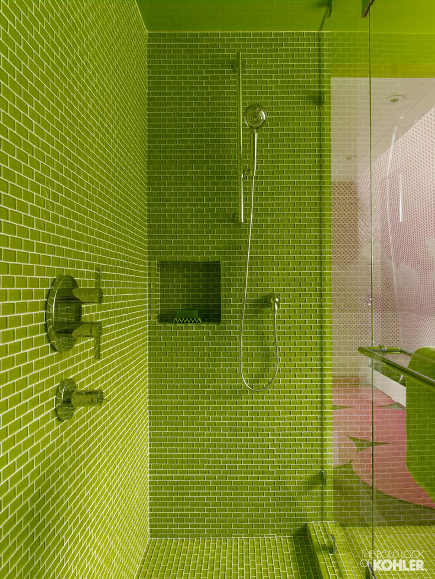 colorful modern bathrooms - lime green glass-tile shower with Hydro Rail shower column - Kohler via Atticmag