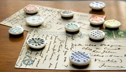 handmade ceramic magnets by Cynthia Vardhan via Atticmag