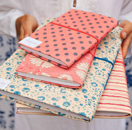 fabric covered journals by Kerry Cassill via Atticmag