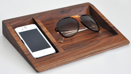 handcrafted walnut iPhone dresser tray by BushakanSF via Atticmag